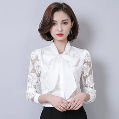 Ladies Negro Blanco Vendaje Arco de Manga Larga Blusa de Encaje Mujeres de Corea Tops Elegante Crochet Remiendo de la Camisa de Las Mujeres Más Tamaño Blusa
