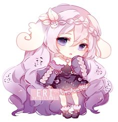 Eri [COMMISSION CHIBI] by Lilianei Kawaii Neko Girl, Kawaii Chibi, Kawaii Art, Chibi Girl, Cute Animal Drawings Kawaii, Kawaii Drawings, Chibi Characters, Purple Art, Cute Anime Chibi