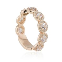 14k Rose Gold Light Pink Sapphire and Pave Diamond Wedding Band  #LaurieSarahDesigns