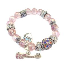 """ELAINI BRACELET COLLECTION """"THE PINK"""" AndreaDesigns ($35) via Polyvore featuring jewelry, bracelets, bead bracelet, pink jewelry, beaded jewelry, pink stretch bracelet and pink bangles"""