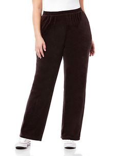 This ultrasoft, pull-on pant is the perfect way to stay stylish while you relax or run errands. The plush velour is touchably luxurious and flatters your silhouette beautifully. Full elastic waist. Hip pockets. Matches our Cozy Velour Jacket. catherines.com