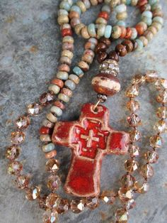 Cross semi precious stone long knotted necklace Old by slashKnots