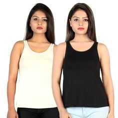 Letizia Women's Cotton A-line Tank Top Pack of 2 (Black & Beige): Amazon.in: Clothing & Accessories Tops Online, Clothing Accessories, Basic Tank Top, Beige, India, Amazon, Tank Tops, Girls, Cotton