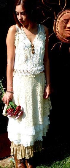 Vintage Slip Wedding Dress, OOAK,Upcycled/Recycled Dress,Tattered Shabby Chic Wedding Dress, Peacock Train,Removable Apron, Praire Wedding. $385.00, via Etsy.