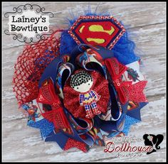"""""""Superman"""" OTT OOAK Hair Bow Heroes Unite An Auction Style Event Opens 4/15/15 at 5 PM CST Closes at 4/17/15 at 9 PM CST Purchase Here: www.facebook.com/dollhousedesigngroup"""