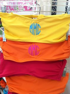 Monogrammed bathing suits.