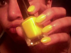 Crazy yellow nails :-)  thanks mom !