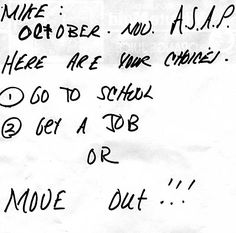 FOUND by Lacey Prpic Hedtke in Duluth, Minnesota    My dad just called me laughing hysterically- he found this note blown into his yard. Mike is his asshole neighbor's kid who just graduated high school. Ha ha.