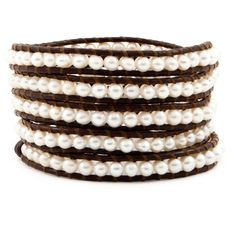 Chan Luu White Pearl Wrap Bracelet (620 BRL) ❤ liked on Polyvore featuring jewelry, bracelets, accessories, pearl jewellery, pearl bangles, brown jewelry, pearl wrap bracelet and chan luu