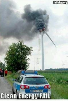 CLEAN ENERGY FAIL.  Maybe it was spinning too fast??