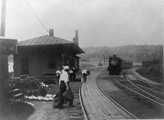 Railroad station in East Litchfield, Connecticut, on old Naugatuck Railroad, ca. 1890-1910