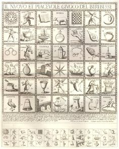 Il Nuovo et Piacevole Giuoco del Biribisse  (The new and pleasant game of biribisse)    Etching published by Giovanni Giacomo de' Rossi between 1640 and 1690. The game board has numbered pictorial compartments of animals, objects and characters, repeated in smaller equivalent squares below the rules of the game.