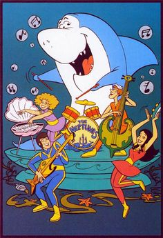 """""""Jabberjaw"""" was a Hanna-Barbera cartoon that ran on Saturday mornings from September of 1976 to September of 1978. The bass (lower right) is supposed to combine the electric and the up-right basses."""