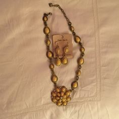 Ornate yellow and gold earring necklace set Never worn. Perfect statement piece Jewelry Necklaces