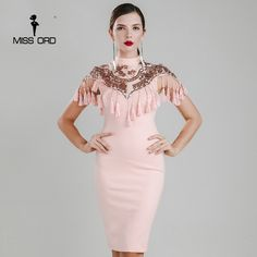 Мисс ord 2017 Сексуальная Высокая шея кисточкой блесток платье FT4782 #women's_dresses #stylish_dresses #cashback #style #fashion