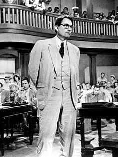 Atticus Finch, fictional hero of TO KILL A MOCKINGBIRD by Harper Lee. Here seen played by Gregory Peck.