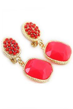 Red Gemstone Pendant Earrings