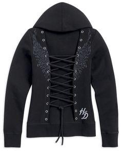 Harley-Davidson® | 96135-13VW | Harley-Davidson® Womens Corset-Style Back Lacing Full Zip Black Long Sleeve Hoodie
