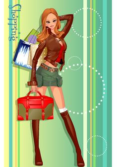 girls shopping set 132 vector - Vector People free download