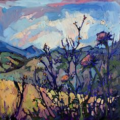 Thistle oil painting study by Erin Hanson