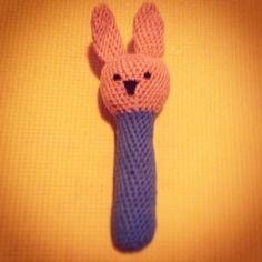 Crocheted bunny rattle for a little boy, Mark :)