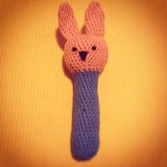 Crocheted bunny rattle for a little boy, Mark :)