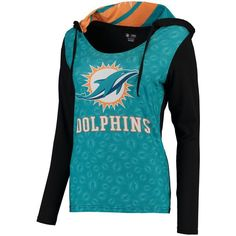 Miami Dolphins Concepts Sport Women's Dynamic Long Sleeve Hooded T-Shirt - Aqua/Black - $51.99