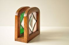 Vintage French Wooden Napkin Holder With Stained por thelittlebiker