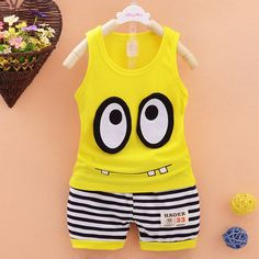 Baby Clothing Sets 2017 Spring Summer Baby Boys girls Clothes Sleeveless T-shirt+Shorts 2Pcs Suits Children Clothing