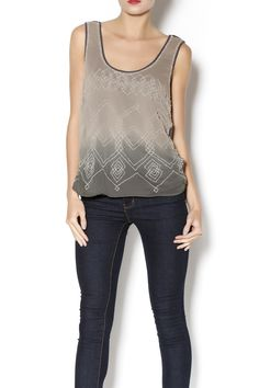Soft charcoal tank with sheer ruched front overlay adorned in crystal bead work in a tribal print. A luxe top, perfect for layering under a sheer kimono with jeans and boots. Luxe Beaded Top by Hazel. Clothing - Tops - Sleeveless Florida