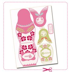 free printable new year card matriochka 1