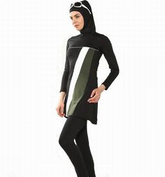 2089bec4b7 2017 New Muslim Swimwear Modest Full Cover Swimsuit Plus Size Female  Bathing Suit Burkinis for Muslim Girls Wire Pad Free