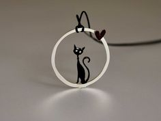 Cat Circle Necklace #silver #black #circle #necklace #cat #cats #jewelry #catjewelry #catloversshopindie #handmade #gift #present