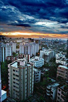 Sunset over Highrises ~ Dhaka, Bangladesh Travel Honeymoon Backpack Backpacking Vacation Bangladesh Travel, Dhaka Bangladesh, People Around The World, Around The Worlds, Bay Of Bengal, Hdr Photography, Thinking Day, Bhutan, Asia Travel