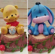 Cute Polymer Clay, Polymer Clay Miniatures, Polymer Clay Crafts, Animal Birthday Cakes, Baby Birthday Cakes, Baby Cake Topper, Cake Toppers, Pooh Baby, Fondant Animals