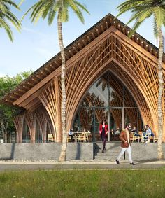 restaurant arquitectura VTN architects intricately arched restaurant in xiamen uses locally-sourced bamboo Bamboo Architecture, Vernacular Architecture, Church Architecture, Concept Architecture, Sustainable Architecture, Amazing Architecture, Architecture Design, Tropical Architecture, Chinese Architecture