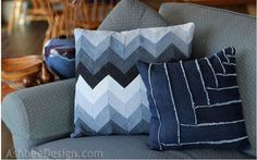 Denim Do Over   Chevron Denim Pillow Made From Recycled Jeans   http://www.denimdoover.com