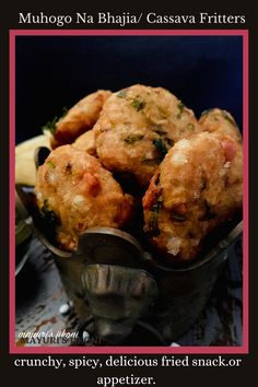 Muhogo Na Bhajia/ Cassava Fritters is a fried snack made from boiled cassava, grated cassava and soaked tapioca pearls. Usually prepared on Ekadashi or Navratri Fasting days, it is gluten free and vegan. Enjoy these bhajias or fritters as tea time snack, as an appetizer or as a part of a main meal. #ekadashifood #navratrifood #cassava #fritters #monsoonfood #bhajia #tapiocapearls #friedfood Hot Snacks, Tea Time Snacks, Easy Snacks, Easy Meals, Side Dish Recipes, Easy Dinner Recipes, Snack Recipes, Dessert Recipes, Easy Recipes
