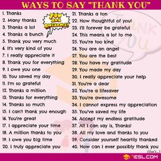Thank You Synonym: 65 Ways to Say THANK YOU - 7 E S L