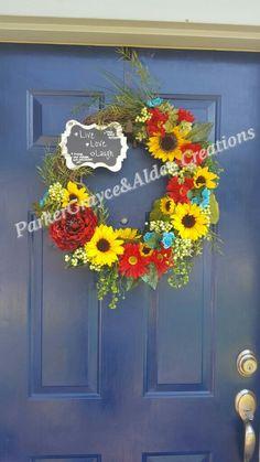 Floral, Summer, sunflower, chalkboard message wreath