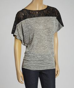 Take a look at this Gray & Black Lace Dolman Top today!