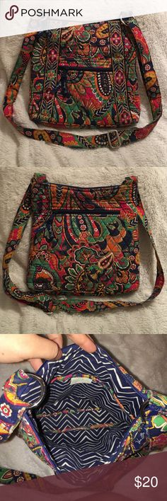 """Vera Bradley Hipster in Venetian Paisley A beautiful Vera Bradley bag that is perfect for the fall! SIZE: approx. 10 3/4"""" wide, 11"""" tall, 1 3/4"""" deep CONDITION: Gently Used (shows fading in the color of the pattern) 1 slip and 1 zipper pocket outside, 3 slip pockets inside main zipper, 1 zipper pocket on back Adjustable strap for cross body or shoulder wear, silver hardware Feel free to ask any questions or make an offer! Vera Bradley Bags Crossbody Bags"""