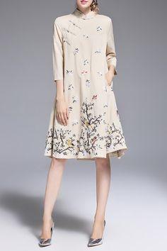 ELADYBABY Twin Pocket Embroidered Midi Dress
