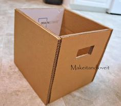 Room, Part 1 (covered cardboard storage boxes) DIY STORAGE BINS Craft Room, Part 1 (covered cardboard storage boxes) Cardboard Storage, Diy Storage Boxes, Fabric Storage Bins, Fabric Bins, Craft Room Storage, Cardboard Crafts, Craft Organization, Cardboard Boxes, Small Storage