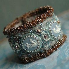 Romantic Cuff, blue and white, bead work, Fabric Jewelry, Jewelry Art, Beaded Jewelry, Vintage Jewelry, Handmade Jewelry, Jewelry Design, Beaded Bracelet, Jewellery, Ring Bracelet