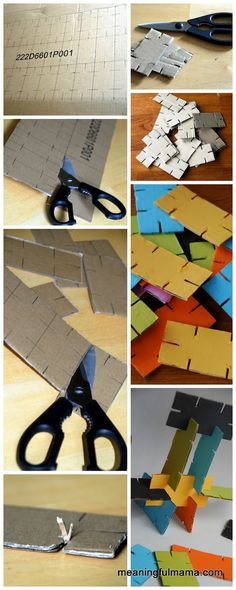 Cardboard Stackers: Super cheap (recycled materials), compact (great for a busy bag) and open-ended (hopefully means hours of distraction).