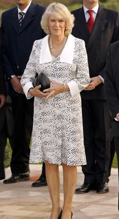 camillasgirl: As requested:Camilla wearing polka Camilla Duchess Of Cornwall, Royal Uk, Camilla Parker Bowles, Hm The Queen, English Royalty, Herzog, Lady Diana, Buckingham Palace, Royal Fashion