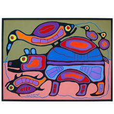 Lattimer Gallery - Norval Morrisseau - Acrylic Painting on Canvas South American Art, American Indian Art, Painting Lessons, Art Lessons, Woodland Art, Aboriginal Art, Aboriginal Education, Haida Art, Native American Artists