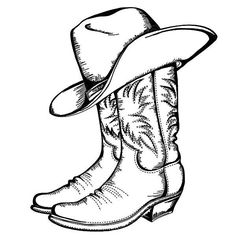 Cowboy Boots And Hat Coloring Pages Kids Play Color Cowboy Boot Tattoo, Cowboy Boots Drawing, Cowboy Tattoos, Cowboy Art, Western Tattoos, Coeur Tattoo, Tatuaje Cover Up, Art Drawings Sketches, Easy Drawings