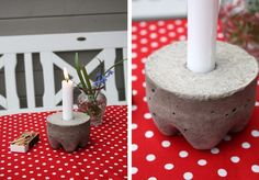 Concrete candle holders made from 2-liter bottles, it looks like. These would be cool lining a walkway.